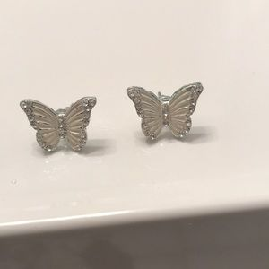 Pair of Crystal Butterfly Earrings